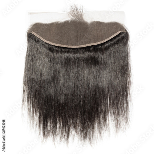 Straight black human hair weaves extensions lace frontal closure Canvas Print