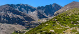 Longs Peak - A panoramic view of Longs Peak (Center-Right, 14,255 ft), with Mt. Meeker (Left) and Mt. Lady Washington (Far-Right), seen from Chasm Lake Trail, Rocky Mountain National Park, CO, USA.