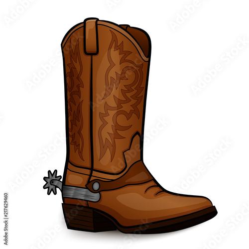 Vector cowboy boot brown design Canvas Print