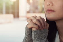 Young Woman Praying, Easter Background