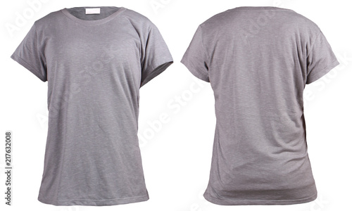 Women S Blank Grey T Shirt Front And Back Design Template Acheter