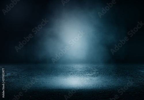 Obraz Background of an empty dark room. Empty walls, lights, smoke, glow, rays - fototapety do salonu