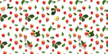 Seamless Pattern Of Fresh Red  Apples With Green Leaves Isolated On A White Background, Top View, Flat Lay. Food Texture.