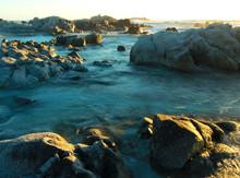 Romantic Sunset At Rocky Coastline Of Asilomar State Reserve, Pacific Grove Near Monterey And Carmel, California, USA