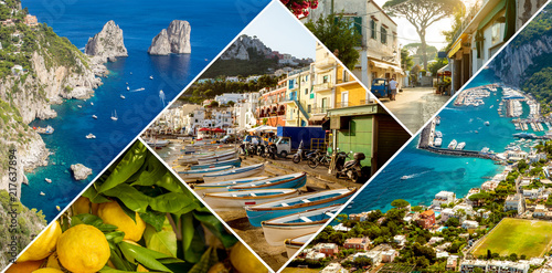 Poster Cote Collage of Capri Island in Italy