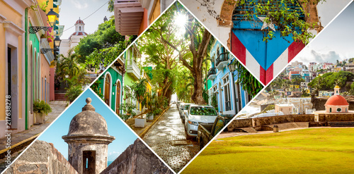 Canvas Prints American Famous Place Collage of Old San Juan in Puerto Rico