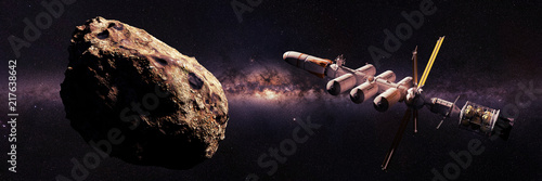 spaceship approaching asteroid, dwarf planet mission, deep space exploration Canvas Print