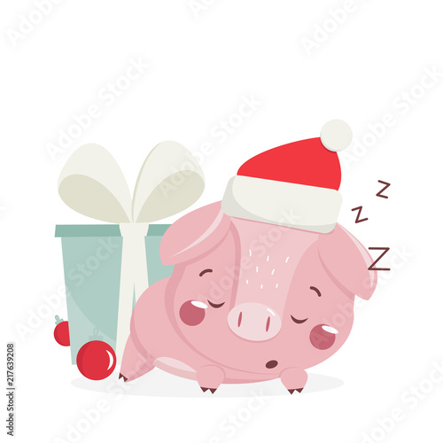 happy new year greeting card with cute sleeping pig chinese symbol of the 2019 year