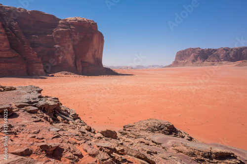 The Mars-like Wadi Rum Desert Protected Area in Southern Jordan