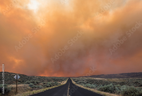 Photo  Smoke Looms Over Empty Road Though Scrub Lands, Grass Valley Wild Fire, Electric