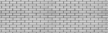 Vintage Seamless White Wash Brick Wall Texture For Design. Panoramic Background For Your Text Or Image.