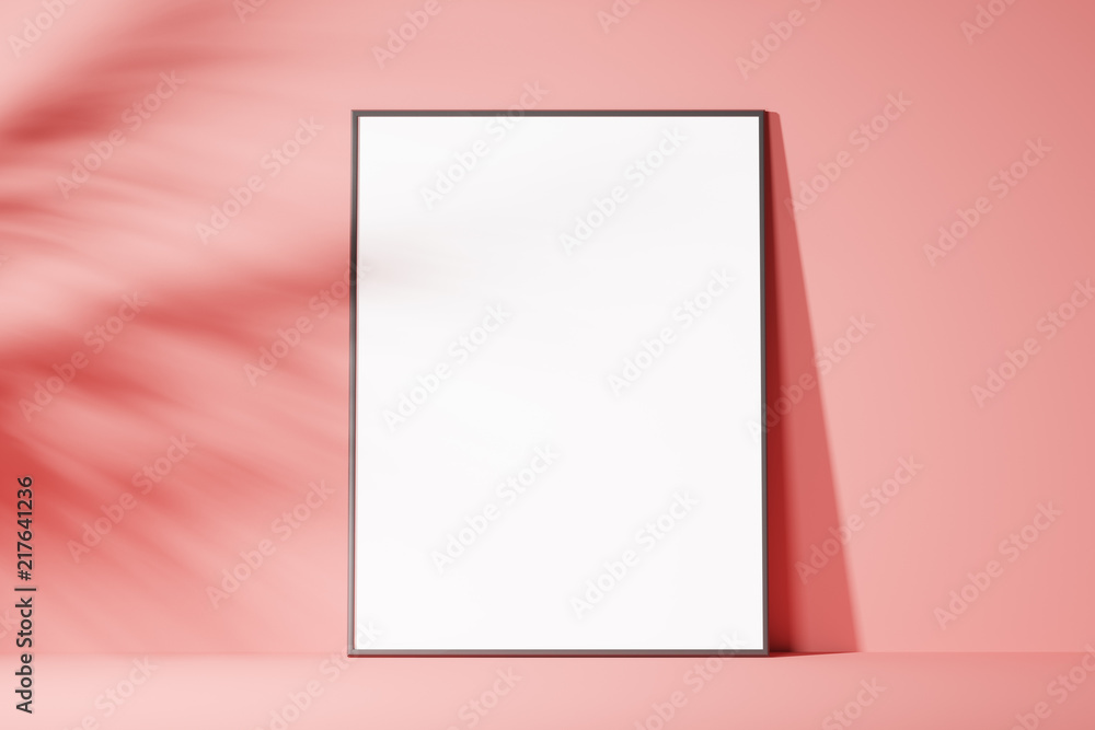 Fototapety, obrazy: The layout of the poster is white on a pink background, minimalism. Front view. Mock up. 3d rendering