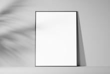 The Layout Of The Empty White Frame On A Light Background. Front View. Mock Up. 3d Rendering