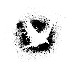 White Grunge Raven Silhouette