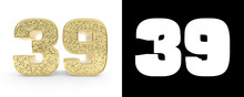 Golden Number Thirty Nine (number 39) On White Background With Drop Shadow And Alpha Channel. 3D Illustration