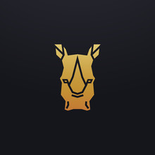 Stylized Rhino Head Icon Illustration. Vector Glyph, Tribal Rhinoceros Animal Design With Golden Color