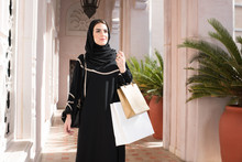 Arab Woman With Shopping Bags.