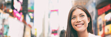 New York City Woman As Times Square Tourist Or Young Casual Woman Happy Smiling Multicultural Caucasian Asian Woman On Manhattan, New York City, New York, USA. Panoramic Banner.