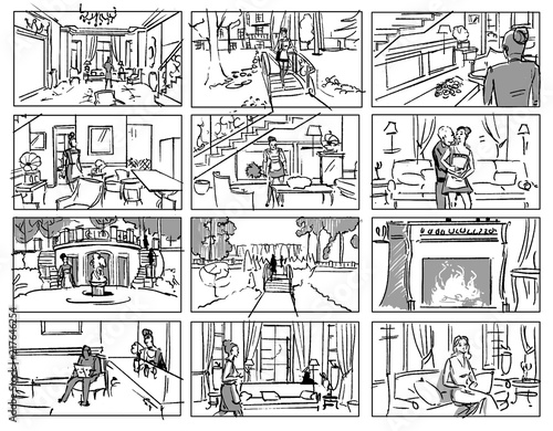 Fotografie, Tablou  Storyboard with a maid in a wealthy house