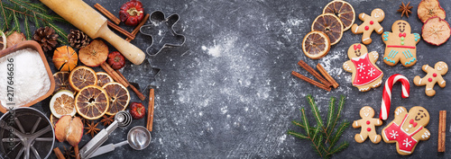 Ingredients for cooking Christmas baking and gingerbread cookies, top view Canvas Print