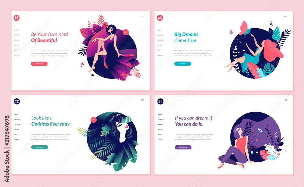 Fototapeta Set of web page design templates for beauty, spa, wellness, natural products, cosmetics, body care, healthy life. Modern vector illustration concepts for website and mobile website development.