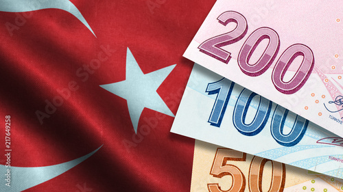 Turkish Lira with Turkish Flag Wallpaper Mural