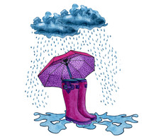Pink Boots With An Umbrella Standing In A Puddle Under The Rain. Watercolor Hand Drawn Illustration. Autumn Ellements. Rain.