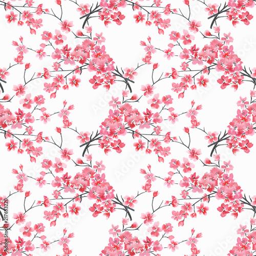 bezszwowy-kwiecisty-wzor-akwarela-galezie-wisniowych-kwiatow-na-bialym-tle
