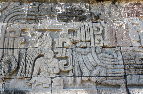 Deurstickers Centraal-Amerika Landen Bas-relief carving with of a american indian chieftain, Xochicalco, Mexico