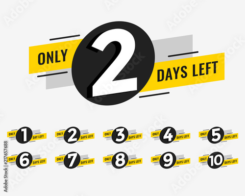 Foto promotional banner with number of days left sign