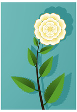 Whitish Golden Blossom Flowers With Green Leaf On Bluish Green  Background  Texture With With Shadow Vector Illustration On A4 Size Letter Template