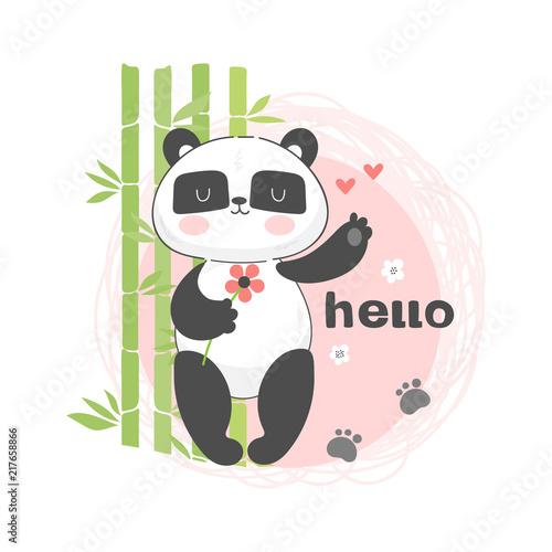 dziecko-ilustracja-z-panda-z-kwiatem