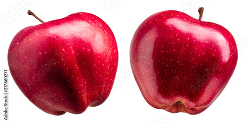 Stickers pour porte Pierre, Sable Group of delicious red apples on white background