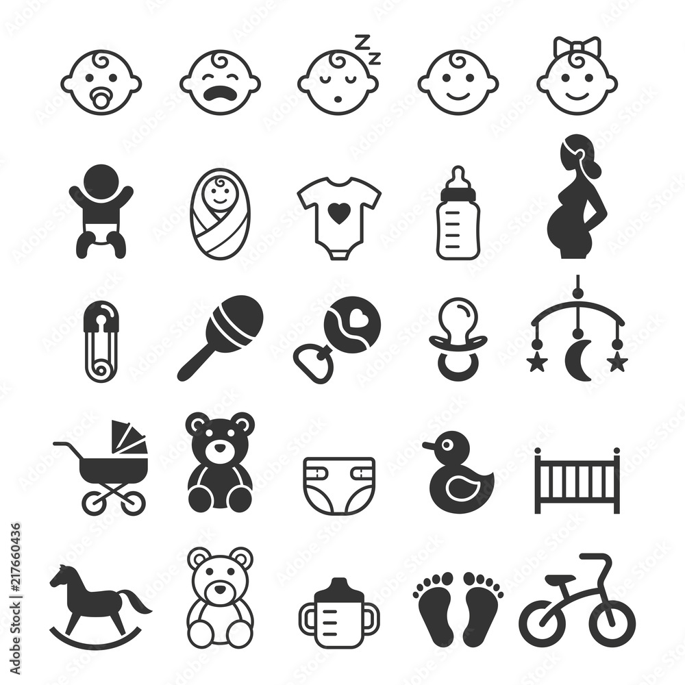Fototapeta Baby icons set. Vector illustration.