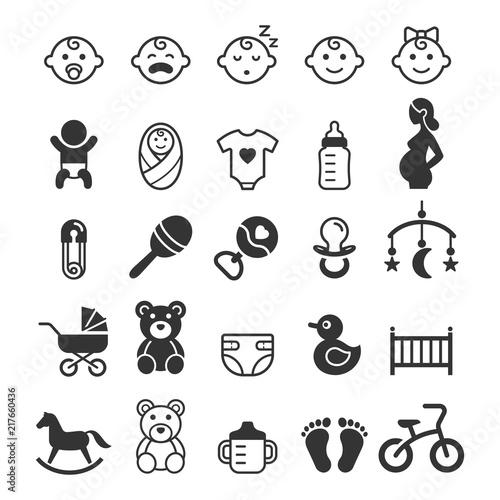 Fotografiet Baby icons set. Vector illustration.