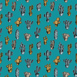 Seamless cactus children drawing pattern multicolor retro style on blue background.