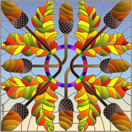 ilustracja-w-stylu-witrazu-z-jesiennej-kompozycji-lisci-debowych-i-zoledzi
