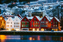 Harbour Of Bergan, Norway. Brightly Lighted Houses Near Port Of Bergan During Christmas
