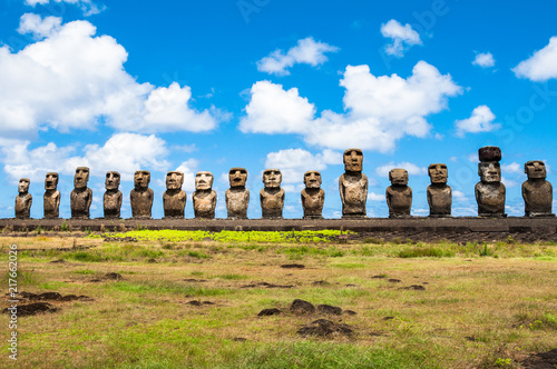 Spoed Foto op Canvas Historisch mon. Moais of Ahu Tongariki, Easter island, Chile