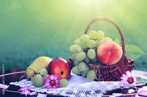Plakaty owoce fruit-basket-isolated-on-green-background-nature-background