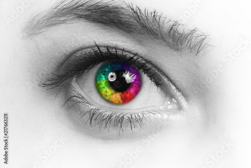 Deurstickers Iris Girl colorful and natural rainbow eye on white background