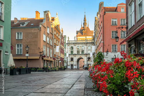 Golden Gate (Zlota Brama) on Dluga street in Gdansk, Poland