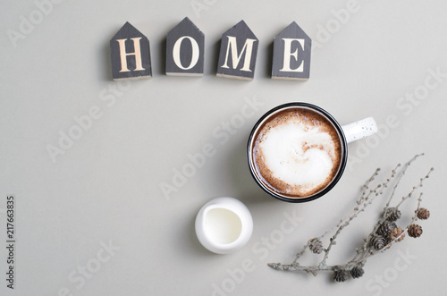 Foto op Plexiglas Home Cozy Concept with Cup of Coffee with Cream on Bright Beige Background