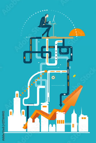 Successful businessman working on top of the complicated financial structure Canvas Print
