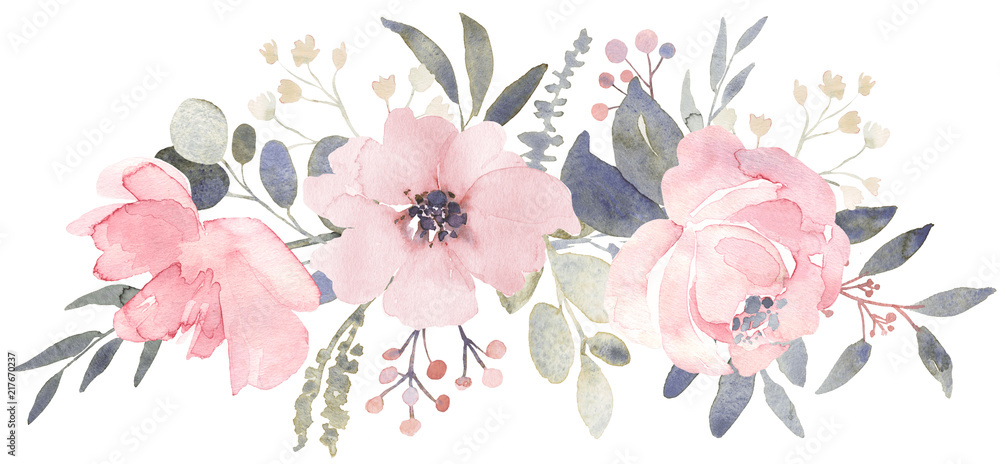 Fototapety, obrazy: Bouquet composition decorated with dusty pink watercolor flowers and eucalyptus greenery