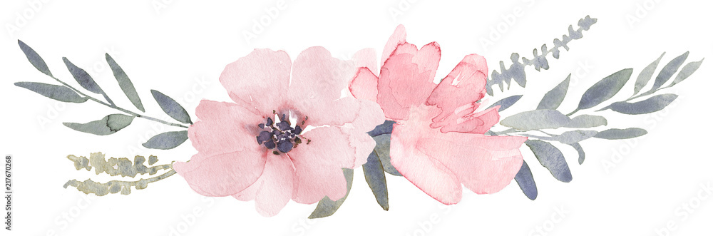 Fototapeta Bouquet composition decorated with dusty pink watercolor flowers and eucalyptus greenery