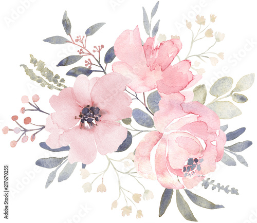 Photographie Bouquet composition decorated with dusty pink watercolor flowers and eucalyptus