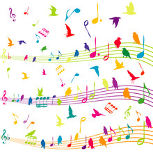 Abstract Music Note With Silhouettes Of Birds Flying
