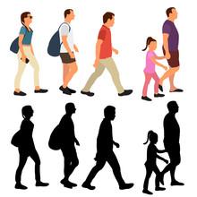 Isolated People Walking Silhou...