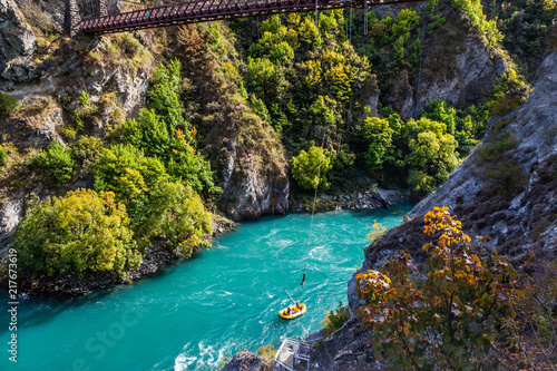 Fotografia, Obraz Bungee jumping on a bridge